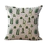 Mode Housse de Coussin en Coton Lin Confortable et Doux Cas Tropical Cactus Pour Maison Voiture Décoration 1013 - 6, ...