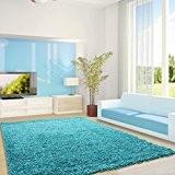 Moderne concepteur tapis Shaggy VIE 120 x 170 Turquoise