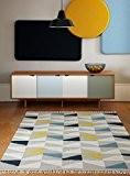 Moderne design Tapis kilim 120x170cm HAVRE Geo Moutarde jaune moutarde, ivoire, gris 80% laine 20% JUTE