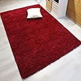 Moderne, doux au toucher, épais, rouge, Tapis Shaggy, disponible en 6tailles, Rouge, 80 x 150 cm
