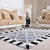 Moderne Minimaliste Salon épaissie Chambre européenne en noir et blanc Checkered Sofa Coffee Table Mat Tapis (couleur, taille en option) ...