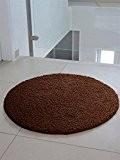 Moderne Rond tapis design Shaggy VIE 200 X 200 brun