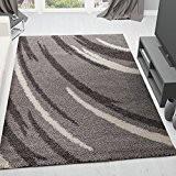 Moderne Shaggy tapis Extra Hauteur des poils rayures gris argent blanc–VIMODA–Dimensions?: 120x 170cm
