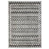 MonBeauTapis 133220 Florence Ethnique Tapis Matériel Synthétique/Polypropylène Gris Noir 190 x 133 cm