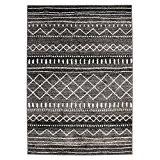MonBeauTapis 133225 Florence Ethnique Maroc Tapis Matériel Synthétique/Polypropylène Noir Blanc 190 x 133 cm
