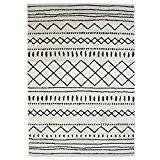 MonBeauTapis 133226 Florence Ethnique Maroc Tapis Matériel Synthétique/Polypropylène Écru Noir 190 x 133 cm