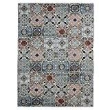 MonBeauTapis Mozaic Carreaux de Ciment Tapis Coton Bleu 230 x 160 cm