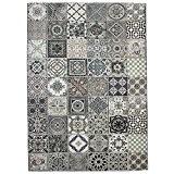 MonBeauTapis Mozaic Carreaux de Ciment Tapis Coton Gris 230 x 160 cm