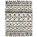 MonBeauTapis Shaggy Luxus Ethnique Tribal Tapis Mélange de Laine Noir 190 x 133 cm