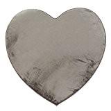 MonBeauTapis Tapis en Forme de Coeur Taupe Extra Doux Antidérapant 90x85cm Flanelle Polyester 90 x 85 cm