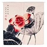 Monsieur fantaisie style chinois peinture Lotus Paysage en lin/coton Porte Tentures murales tapisserie Noren Rideau de porte de séparation de ...