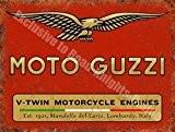 Moto Guzzi bicylindre de Moteurs de moto garage Vintage Panneau mural en métal/acier, Acier, 20 x 30 cm