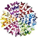 Mudder 3D Papillons Papiers Décoration pour décoration de Maison et de Pièce, 6 Couleurs, 72 Pièces
