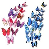 Mudder 3D Papillons Papiers Décoration pour Fammille et Chambre, 24 Pièces (Bleu, Rouge Rose)