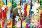 Mur en bois coloré - Tableau magnétique métal au design de mur en bois - 60x40 cm - Tableau aide-mémoire ...