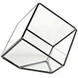 MyGift artistique moderne en verre Transparent Boîte Cube de Décoration pour Terrarium Bougeoir en verre avec bougie chauffe-plat