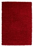 Nazar Moderne Tapis shaggy Uni Soft Synthétique Rouge 230 x 160 x 3 cm