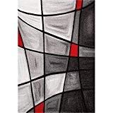 NAZAR Tapis de salon Brillance 120x170 cm rouge, noir et gris