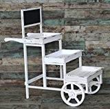 New day®-Maison décoration produits jardin bois balcon étagère fleur, trois roues charrettes et créatif 100 * 51 * 104CM , ...
