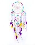 niceEshop(TM) 5 Cercles Capteur de Rêves avec Ornements Plumes, Perles pour Voiture et la Décoration de Maison (Couleur Arc en ...