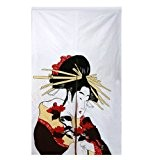 NOREN rideau JAPONAIS - Motif GEISHA - Tenture de Décoration