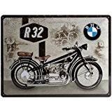 Nostalgic-Art 23232BMW Moto R32, plaque en métal 30x 40cm, multicolore, 30x 40x 0,2cm