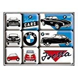 Nostalgic-Art 83078SetLot de 9 magnets magnétique BMW Vintage Cars, 9pièces