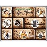 Nostalgic Art Coffe House Ensemble de 9 magnets pour le frigo aux motifs rétro