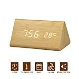 NovoMe Moderne imitation bois Horloge de bureau Alarme LED Horloge numérique Horloge de table avec contrôle du son(With EU Plug) ...