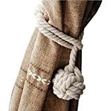 NUOLUX Main, tricot Rideau corde coton Rural corde Tie Band pour plage Decor chambres rustiques (Beige)