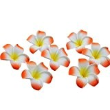 onecreation 4 cm Plumeria hawaïenne frangipanier en mousse flowers-wedding Décoration vacances Home dector DIY (100pcs-orange)