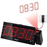 """OnLyee 1.8 """"LED Dimmable Projection Radio-réveil avec FM, Charge USB, Double alarme, Batterie de Secours, Minuterie De Sommeil, Fonction De ..."""