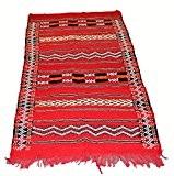 Original authentique marocain Fait à la main Tapis Kilim 100% laine tissé main–Rouge Noir et Orange–1.43x 0.81m