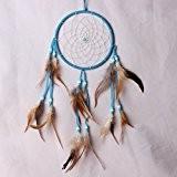 Ornements de plumes naturelles pure Dream Catcher accessoires de maison cadeaux des fêtes, bleu
