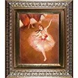 overstockart Degas Danseuse étoile sur scène avec élégant cadre doré Huile peinture, finition or
