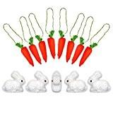 Pack of 10 Mini Orange pailleté Carottes & Pack of 5 Moelleux Lapin De pâques Bonnet Décoration