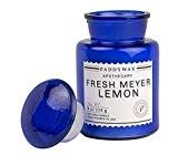 Paddywax–Bleu–Collection apothicaire Luxe Fine Bougie parfumée en cire de soja–Artisan–Coulée à–60Heures–Recyclable Bleu Bouteille apothicaire–Fresh Meyer Citron
