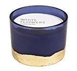 Paddywax–Collection dorés–Bleu et Or–de luxe Fine Bougie parfumée en cire de soja–Artisan–Coulée Blanc Fleurs–G–90heures–Recyclable Porte Bougie