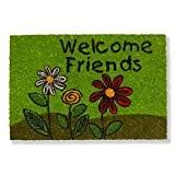 Paillasson d'entrée robuste 100% fibres de Coco naturel Welcome Friends, 40 x 60 cm