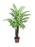 Palmier artificiel Phoenix, 15 feuilles de palmier, 3 troncs, 120 cm - faux cocotier / arbre artificiel - artplants