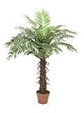 Palmier royal artificiel avec un tronc en fibres de palmier, 15 feuilles de palmier, 120 cm - palmier en pot ...