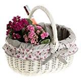 Panier en osier blanc avec anse,Panier, gondole de courses en osier avec une housse gris - joli bordure décorative