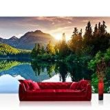 Papier peint photo mural en non tissé - premium - motif paysage: montagnes, mer et coucher de soleil romantique, forêt–n° ...