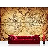 Papier peint photo mural papier peint photo non tissé 350x 245cm Premium Plus Papier peint intissé image–Vintage World Map–Carte du ...