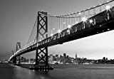 Papier peint photo–San Francisco Skyline–(134I) Taille 8pièces en noir et blanc 366x 254cm–Pont Ville USA Paysage mer plage de Salon ...