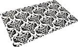 Papillon 50x 75cm baroque Super Absorbant Tapis de salle de bain, noir/blanc