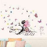 Papillon Fleur Fée Autocollants, Eenkula Nouvelle Mode Chambre Salon Wall Stickers (120cm*80cm)