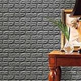 PE Foam 3D Wallpaper, NINGSANJIN Bricolage Stickers muraux Décor mural en relief Brique pierre (Gris)