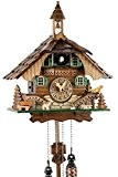 Pendule à coucou de la Forêt Noire en bois véritable avec mouvement à quartz alimenté par piles, chant du coucou ...