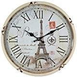 Perla pd Design Métal Horloge murale avec vitre en verre vintage Motif Tour Eiffel Paris Vieux blanc laqué env. Ø ...